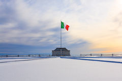Winter panorama from Italian Alps Stock Photo