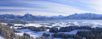 Winter panorama landscape in Bavaria with alps mountains Royalty Free Stock Photo
