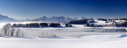 Winter panorama landscape in Bavaria with alps mountains Royalty Free Stock Image