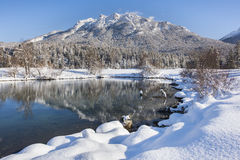 Winter panorama landscape in Bavaria with alps mountains Stock Photos