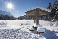 Winter panorama landscape in Bavaria with alps mountains Stock Image