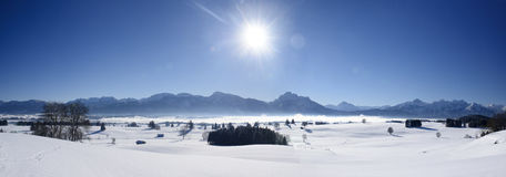 Winter panorama landscape in Bavaria at alps mountains Royalty Free Stock Photos