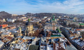 Winter panorama - landscape of Lvov in sunny day from tower Royalty Free Stock Photos