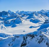 Winter panorama landscape from Mont Fort and famous Matterhorn, Dent d`Herens, Dents de Bouquetins, Weisshorn; Tete Blanche in th royalty free stock images