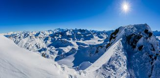 Winter panorama landscape from Mont Fort and famous Matterhorn, Dent d`Herens, Dents de Bouquetins, Weisshorn; Tete Blanche in th royalty free stock photography