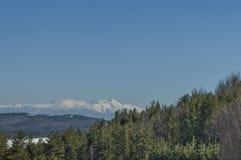 Winter panorama landscape from Vitosha toward Rila mountain Stock Image