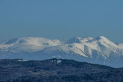 Winter panorama landscape from Vitosha toward Rila mountain Royalty Free Stock Image