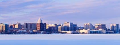 Winter panorama of Madison Royalty Free Stock Photos