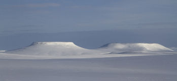 Winter panorama mesas on Bering Island winter day Royalty Free Stock Photography