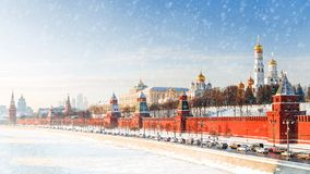 Winter panorama of the Moscow Kremlin, Russia royalty free stock photo