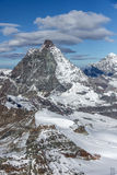 Winter panorama of mount Matterhorn, Canton of Valais, Alps Stock Photo
