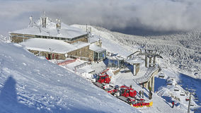 Winter panorama of mountains above the clouds Royalty Free Stock Image