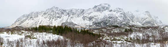 Winter panorama of mountains on Lofoten Islands Royalty Free Stock Photos