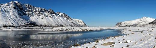 Winter panorama of mountains on Lofoten Islands Stock Photos