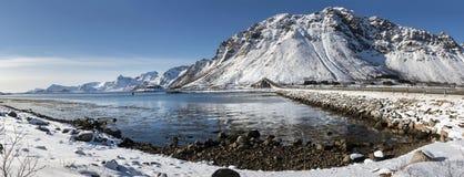 Winter panorama of mountains on Lofoten Islands Stock Photography