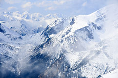 Winter panorama of mountains Stock Photos