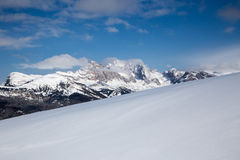 Winter panorama on mountains in Val Gardena Stock Images