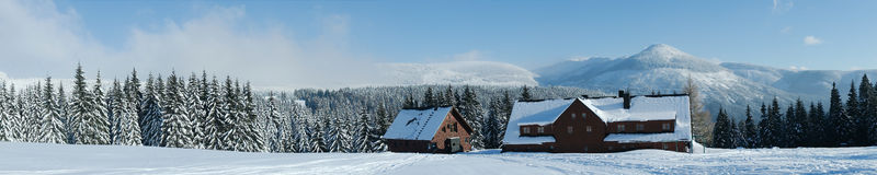 Winter panorama. A nice panoramic view of a winter landscape. Shot near the ski resort Špindlerův Mlýn in the Czech Republic. Paradise in the middle of the royalty free stock photo