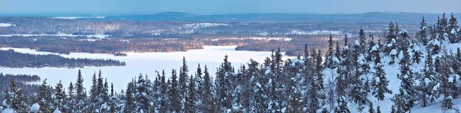 Winter panorama in Northern Finland. Stock Photos