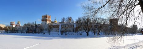 Winter panorama of Novodevichiy monastery Royalty Free Stock Images