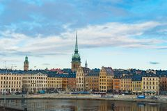 Winter panorama of the Old Town Gamla Stan pier architecture in Stockholm, Sweden Stock Photos