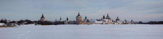 Winter panorama of orthodox monastery, Russia Royalty Free Stock Photos
