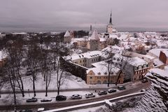 Winter panorama from Patkuli viewing platform. Tallinn. Estonia. Tallinn is the capital and largest city of Estonia; the Old Town is one of the best preserved royalty free stock photo