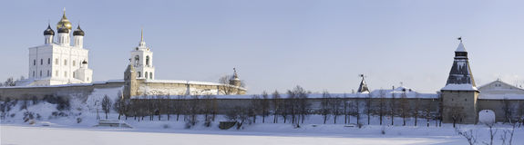 Winter panorama of the Pskov Kremlin Stock Photos