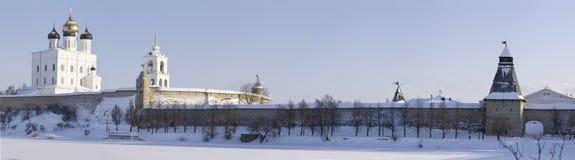 Winter panorama of the Pskov Kremlin Stock Photos