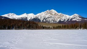 Winter panorama of the Pyramid Mountain and the frozen Patricia Lake in the Jasper National Park Alberta, Canada. 16x9 panoramic format photo of the winter royalty free stock images