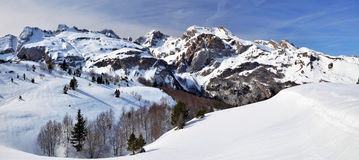 Winter Panorama seen from Somport pass in Pyrenees. Beginning of Aspe Valley in French Atlantic Pyrenees seen in winter from Col  Somport pass. The snow pattern Stock Photo
