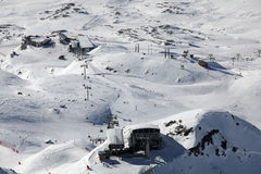 Winter panorama with ski gondola. Image of snowy mountains in Alpe d'Huez, France Stock Photography