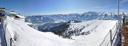 Winter panorama with skiers Royalty Free Stock Photos