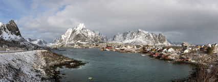 Winter panorama of small fishing port Reine on Lofoten Islands, Royalty Free Stock Photos