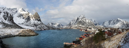 Winter panorama of small fishing port Reine on Lofoten Islands, Stock Images