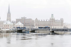 Winter panorama of Stockholm,Sweden. Royalty Free Stock Photo