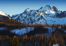 Winter panorama from Strbske Pleso Stock Photo