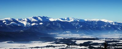 Winter panorama from Strbske Pleso Royalty Free Stock Image