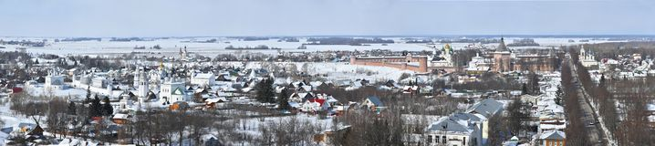Winter panorama of Suzdal, Vladimir region, Russia stock images