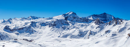 Winter panorama Tignes. Panorama of winter mountains in Tignes. France Stock Images