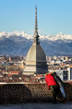 Winter panorama of turin with tourists Royalty Free Stock Image