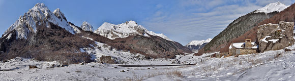 Winter Panorama of Valley Ossau in French Pyrenees Royalty Free Stock Photos