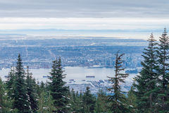 Winter Panorama of Vancouver from Grouse Mountain, BC,  Canada Stock Images
