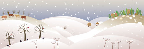 Winter panorama. Vector illustration of a landscape covered with snow Stock Photo