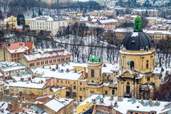 Winter Panorama View From The Town Hall In Lviv, Ukraine. Stock Photos