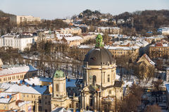 Winter panorama view from the Town Hall on the downtown in Lviv, Ukraine. Old buildings. Roofs covered with snow. Royalty Free Stock Photos