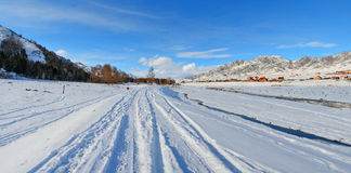 Winter panorama of the village Ongudai, Altai Siberia, Russia Stock Photography