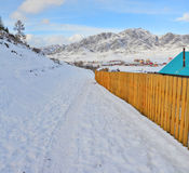 Winter panorama of the village Ongudai, Altai Siberia, Russia Royalty Free Stock Image