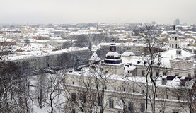 Winter panorama of Vilnius Royalty Free Stock Photos
