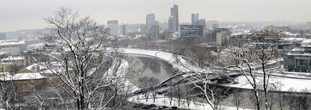 Winter panorama of Vilnius Stock Images
